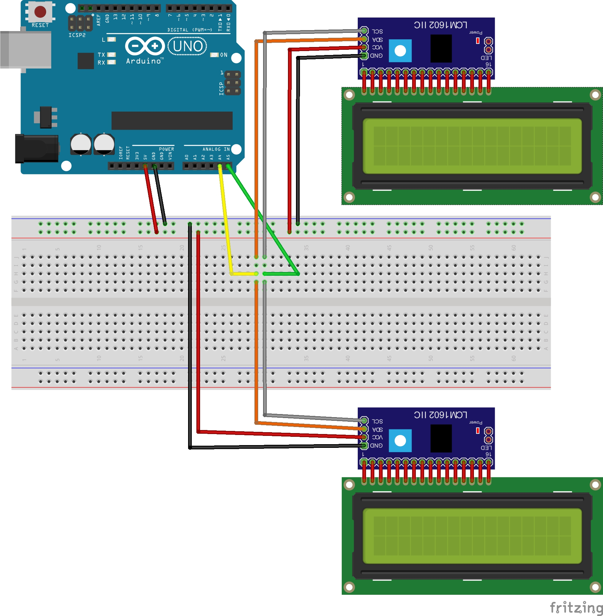 No running two i²c displays at the same time