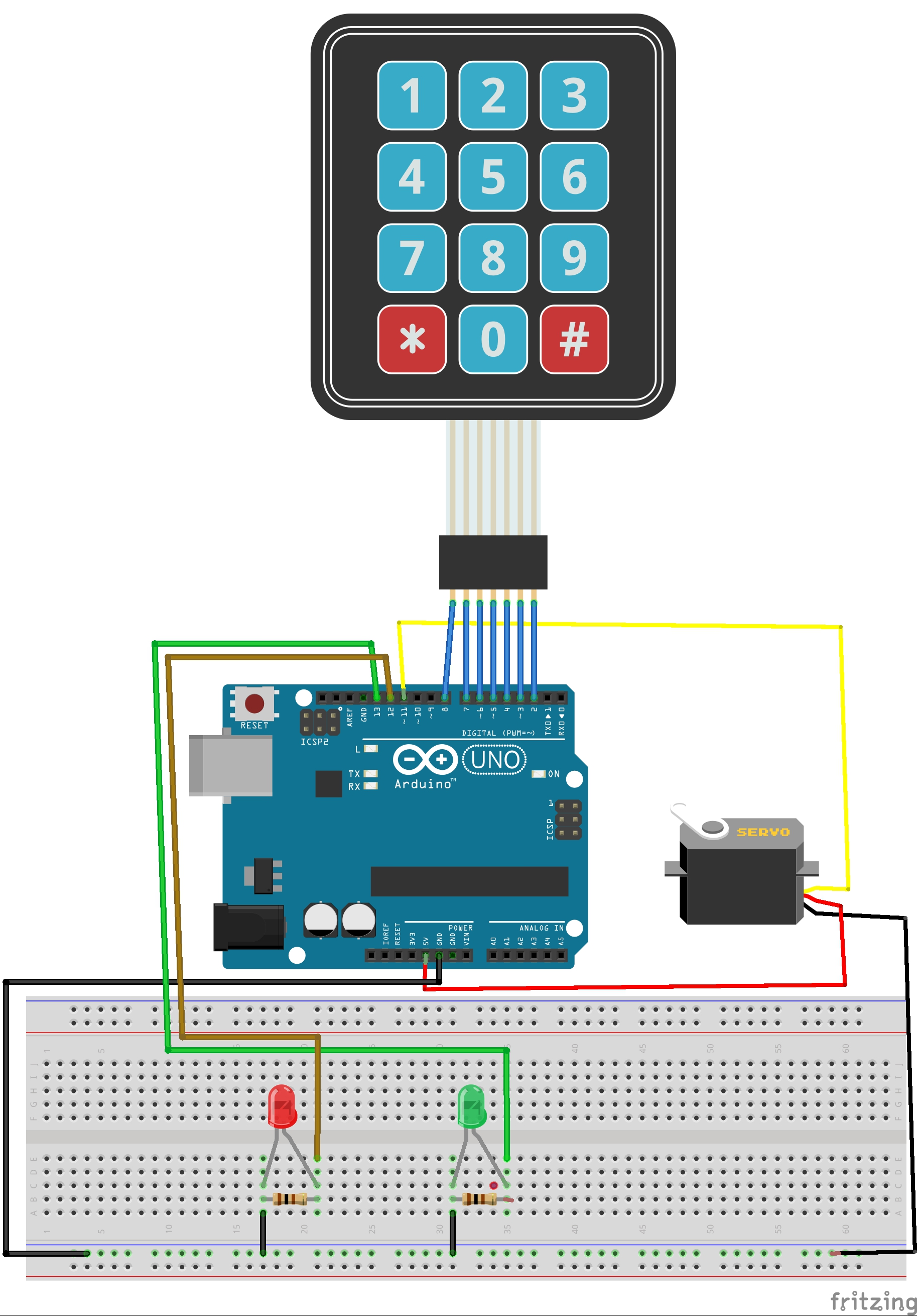 No keypad lock arduino tutorials and kits for